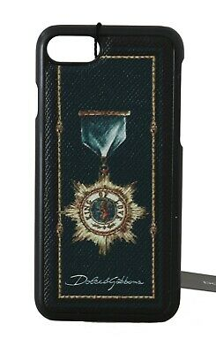 NEW $180 DOLCE & GABBANA Phone Case Black Blue Leather Medal Print iPhone7