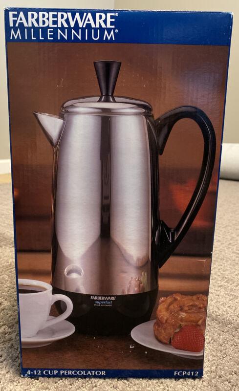 ELECTRIC COFFEE Pot Millennium PERCOLATOR STAINLESS FARBERWARE 12 CUP NIB FCP412