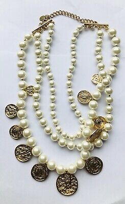 NWD Zara Gold Faux Pearl Necklace Lucky Charm Coins Party J129 Read Note**
