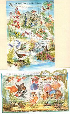 Ceska Republika, Republic Czech , TROPICAL FISH, FAUNA, BIRDS SHEETS, MNH