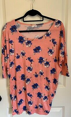 agnes and dora Dolman Top Small Light Pink With Royal Blue Flowers