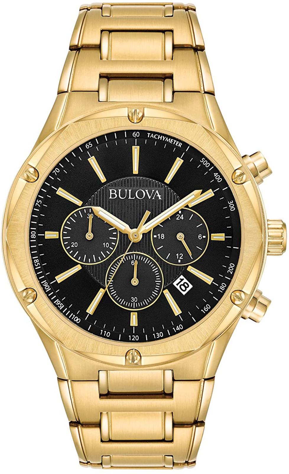 Bulova Men's 97B161 Black Dial Gold Tone Stainless Steel Chr