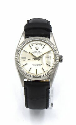 VINTAGE ROLEX PRESIDENT DAY DATE 1803 WRISTWATCH 18K WHITE GOLD PAPERS c1966