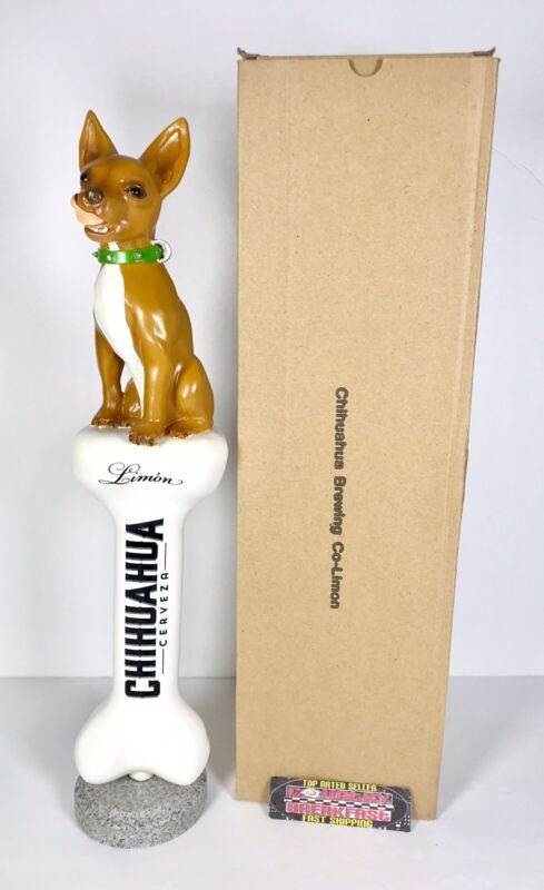 """Chihuahua Cerveza Limon Lager Bone Beer Tap Handle 14"""" Tall - Brand New In Box!"""