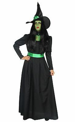 Deluxe Hexenkostüm grün lang edel schwarz mit Hut - Kostüme Mit Grünem Kleid