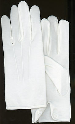 TTN853 Men's Gloves Parade 100% Cotton Wrist Snap Santa Size Large or XL White](Santa White Gloves)