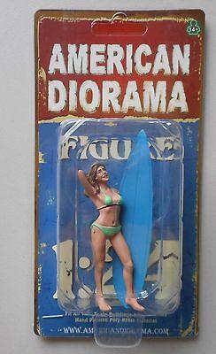 """LADY SURFER PARIS AMERICAN DIORAMA 1:24 Scale FEMALE GIRL  3"""" Figure"""