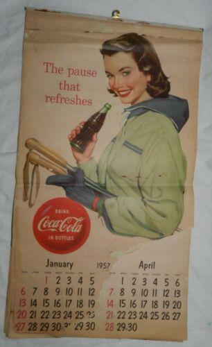 Vintage 1957 Coke, Coca-Cola Calendar with 1956 Christmas / Santa Page