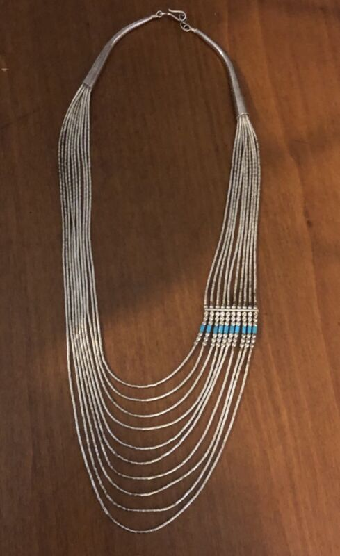 Navajo Vintage Turquoise 10 Strand Sterling Liquid Silver Cone Tip Necklace 925