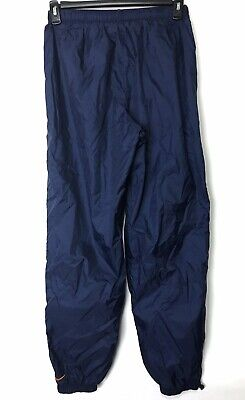 Vintage Nike Nylon Pants Running Navy Blue L 12-14 Elastic Waist Ankles Womens