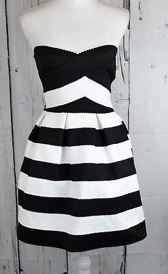 B. Darlin Juniors Strapless A-Line Fit & Flare Dress Striped Party Prom Size 3/4