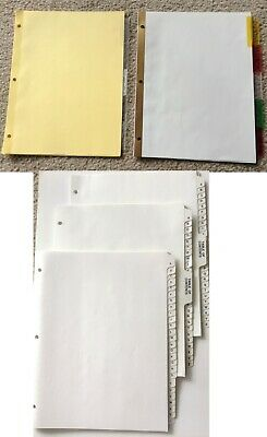 Binder Index Insertable Tab Dividers Multi-color Clear Alphabetical Toc