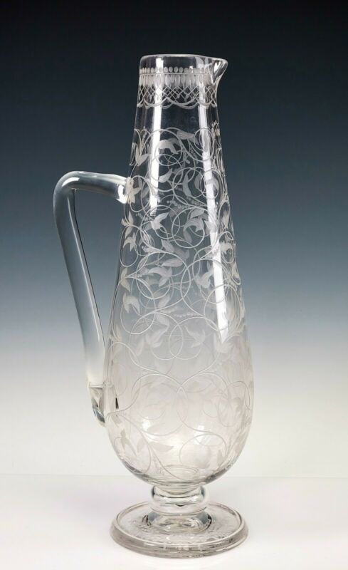 "Antique Webb Engraved Scrolls Flowers 11 1/4"" Tall Glass Pitcher"
