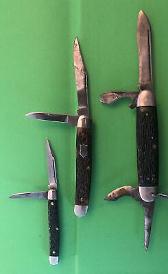 3 Vintage Pocket Knives Kutmaster Ulster & Utica Cutlery Co.