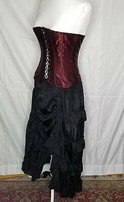 Med steampunk wine black corset and skirt dance hall costume Halloween