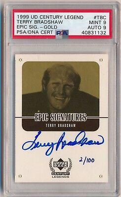 d51e0c8c46 TERRY BRADSHAW 1999 UD Century Legends Epic Signatures AUTO GOLD /100 PSA 9  MINT