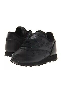 Reebok Classic Infant/Toddler All Black Leather Size 2-10. 100% Authentic.