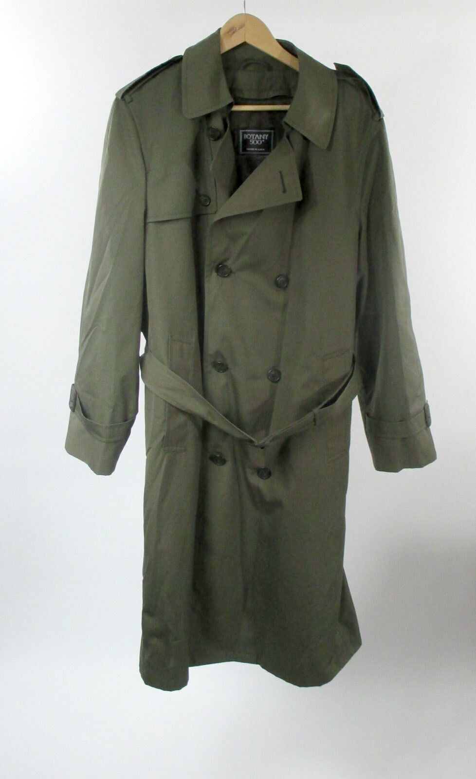 Botany 500 Trench Coat 38 R USA Made Olive Green B