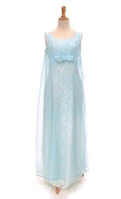 Size S TRUE VINTAGE 1960s aqua blue prom evening formal dress long party - 1960 Clothes