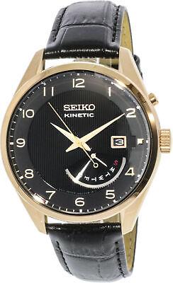 Seiko Men's Kinetic SRN054 Black Calf Skin Dress Watch