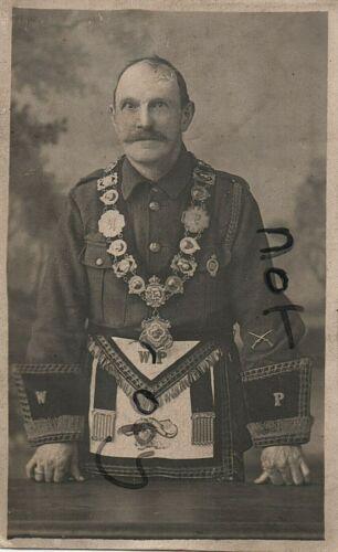 WW1 soldier in Khaki wearing Masonic regalia Order of the Buffaloes Newcastle