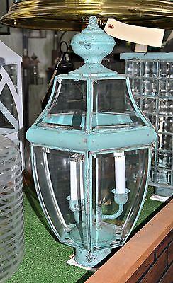 NEW MAXIM OUTDOOR POST MOUNT 3-Candle VERDE Green Bevel Glass 6092 $400 MSRP -