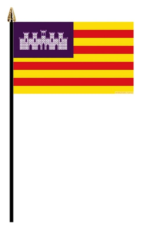 "BALEARIC ISLANDS PACK OF 12 SMALL HAND FLAGS flag 6""x4"" with pole SPAIN IBIZA"
