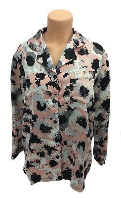 Pajama Heaven women's large lightweight sleepwear long sleeve button top shirt