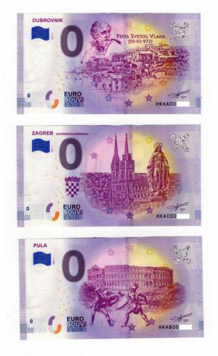 0 Euro Zero Souvenir Banknote - Croatia 2019-1 - 3 different types - NEW!