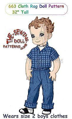 Boy Rag Doll (663 Boy Cloth Rag Doll Pattern Jointed Boy soft Doll 32