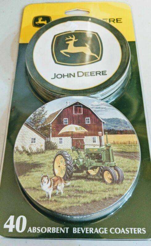John Deere Farm Tractor Absorbent Beverage Coasters Set of 40 NEW