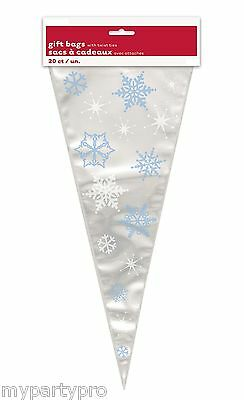 FROZEN SNOWFLAKE LARGE CONE TREAT BAGS Birthday Party Supplies FREE SHIPPING