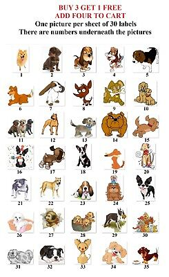 30 Personalized Return Address Labels Cute Dogs Buy 3 Get 1 Free D5