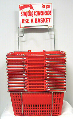 Twelve 12 Red Hand-held Shopping Baskets With Rack Sign Metal Handles - Nos