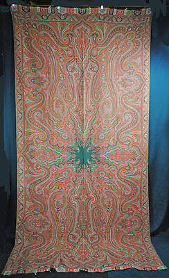 "ANTIQUE PAISLEY SHAWL 1860's INDIA LOOMED WOOL BLACK CENTER  128"" x 62"""