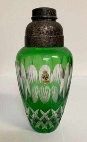 Vintage Green Crystal Cocktail Shaker German Nachtmann Bleikristall