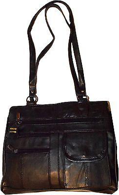Schwarz Leder Tasche-tag (Neuer Stil Damen Leder Mittelgroße Tote Bag Schulter Tasche Tag Taschenbuch)