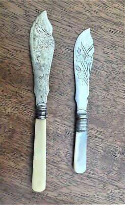 TWO PRETTY ANTIQUE VICTORIAN BUTTER/ FRUIT KNIVES