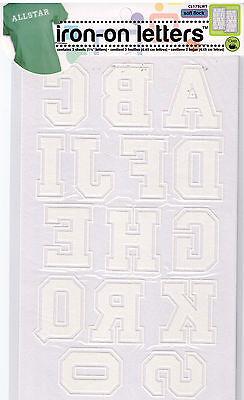 """WHITE Soft Flock Iron-on alphabet 1 3/4"""" letters 2 sheets -customize t-shirts CL"""