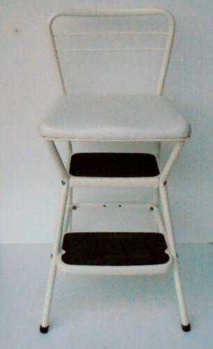 Vintage COSCO White Kitchen Chair Step Stool Flip Seat Retro Mid