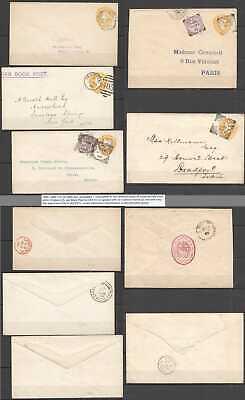 B1064 1892-1900 GREAT BRITAIN !!! VERY RARE USED 5 ENVELOPES QUEEN VICTORIA QV