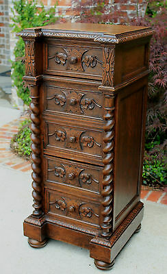 Antique French Oak Barley Twist Drop Front Cabinet Pedestal Nightstand End Table