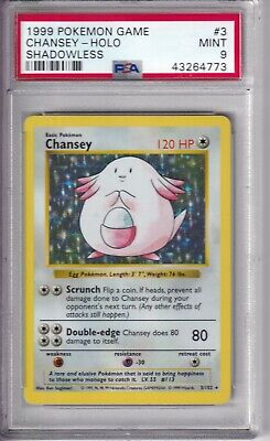 1999 Pokemon Chansey (3) Base Set Shadowless Holo PSA 9 MINT (64773)