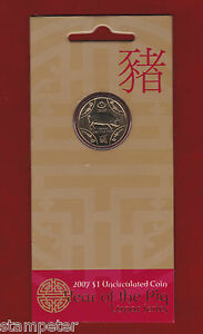 2007 Lunar Series - Year of the Pig, $1 Uncirculated Coin, RAM