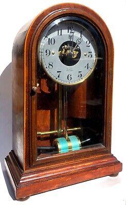 Antique Bulle Electric Clock Fully Working With Arched Mahogany Case Glass Front tweedehands  verschepen naar Netherlands