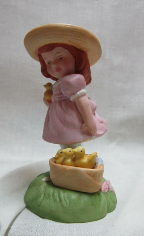 Avon 1985 Easter Charm Little Girl with Chicks Porcelain Collectible Figurine