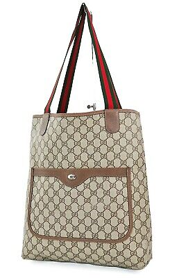 Authentic Vintage GUCCI Brown GG PVC Canvas and Leather Tote Bag Purse #37720