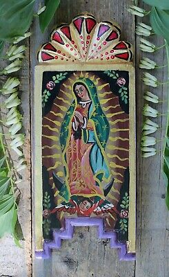 Our Lady of Guadalupe Handmade Hand Painted Retablo Wood Mexican Folk Art Devout
