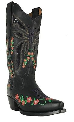 Women's Engraved  Flower Sequin Western Cowgirl Biker Boots Snip Black](Sequin Womens Boots)