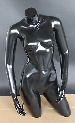 34 In Tall Female Mannequin Torso Body Form Arms Free Standing Black Ft1-bt-new